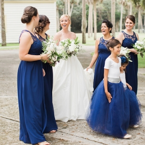 Florida Wedding At The Ribault Club Featuring Navy Bridesmaids Gowns