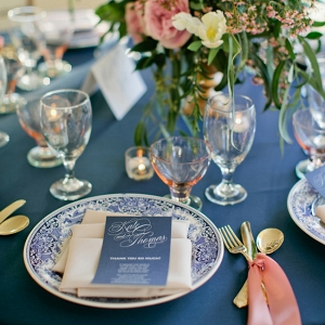 Navy Blue And Rose Table Setting