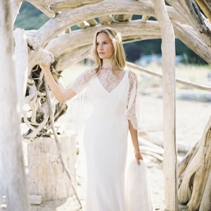 Coastal Bridal Portraits On Driftwood Beach