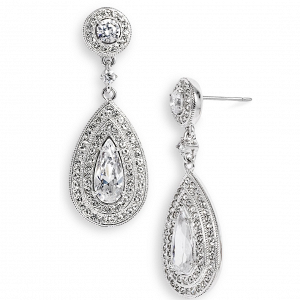 Pear shaped crystal bridal earrings by Nadri