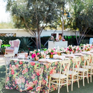 Wedding Table with Floral Linen