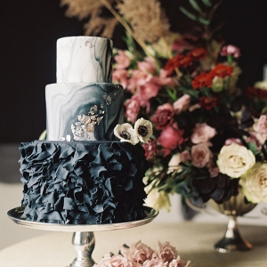 Wedding Cake with Black Ruffles