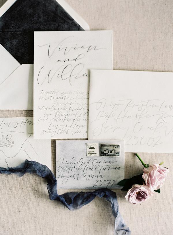Dark Gray Wedding Stationery