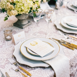 Ivory and gold table setting on Elizabeth Anne Designs