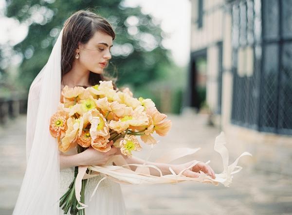 Poppy Bouquet with Peach Ribbon