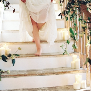 Greenery and Candle Staircase