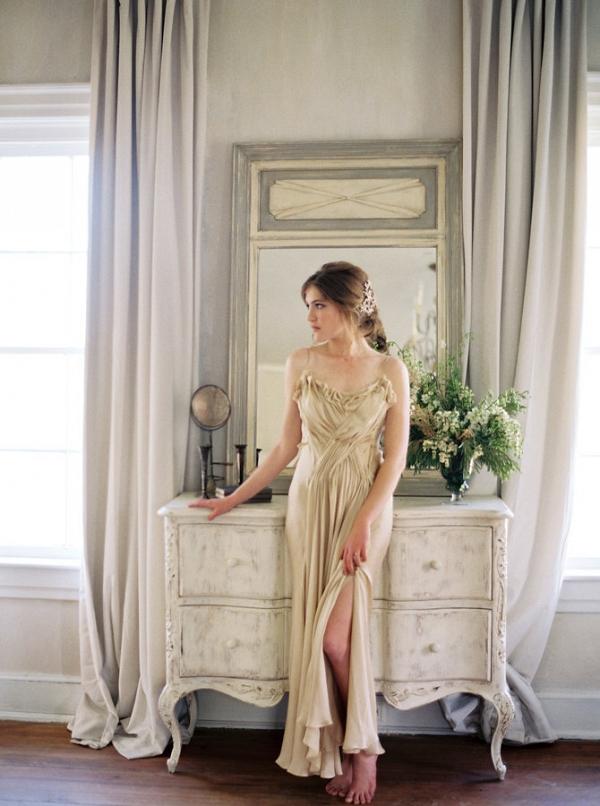 Bride in Champagne Silk Slip