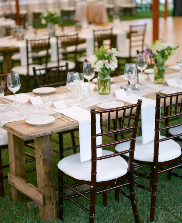 Wood Farmhouse Tables at Wedding
