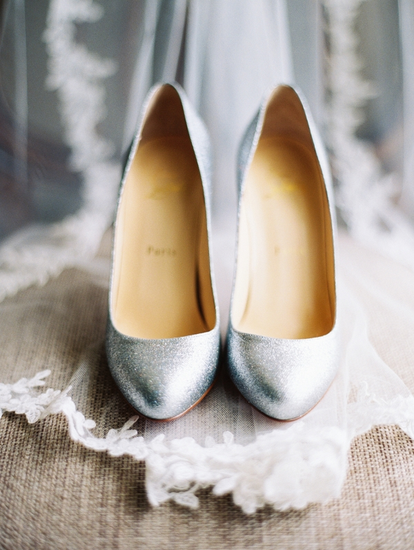 Silver Christian Louboutin Wedding Shoes