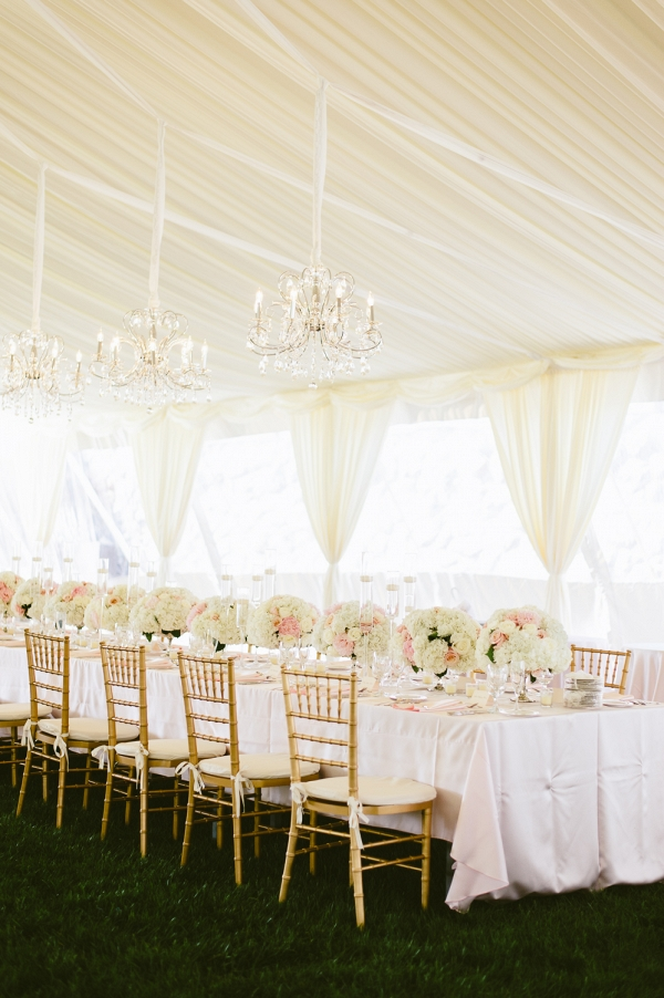 Blush Tent Reception with Chandeliers