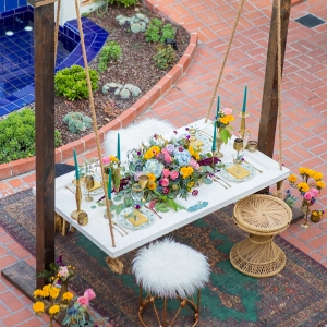 boho inspired suspended table on Every Last Detail