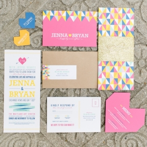 Colorful Geometric Wedding Invitation