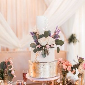 gold leafed wedding cake on Every Last Detail