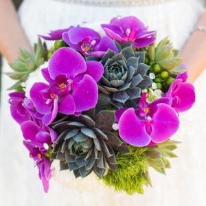 Orchid and succulent bouquet
