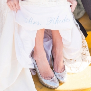 Something Blue embroidered into wedding dress