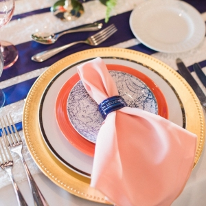 Peach and blue placesetting