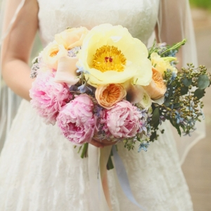 Pink and yellow peony bouquet