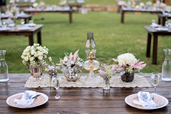 Vintage and rustic tablescape