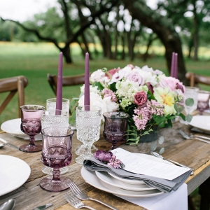 Lavender and Gray Tablescape