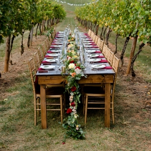 Tablescape in a vineyard