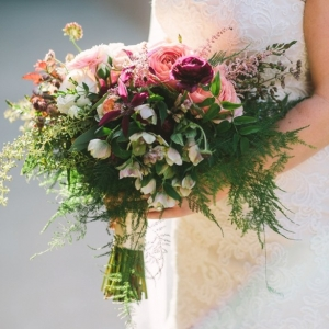 Pink, red, and green bouquet