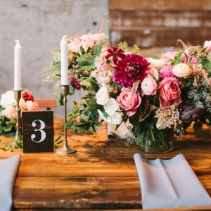 Rustic Urban Pink and Cranberry Tablescape