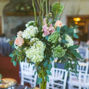 Pink and green tall centerpiece