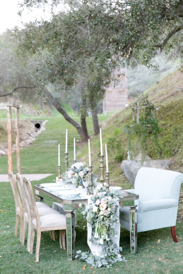 Whimsical and romantic blush and blue table design