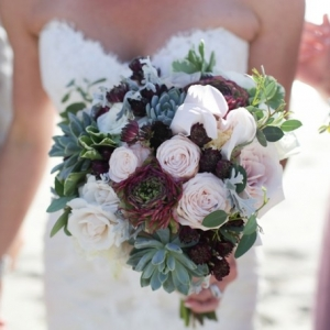 Blush, red, and succulent bouquet