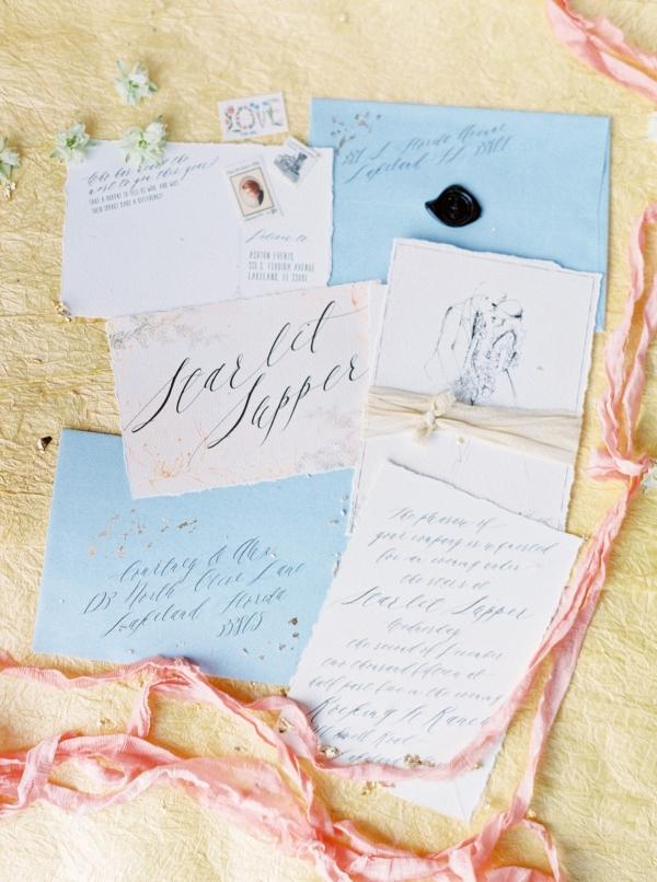 Yellow and blue wedding invitation
