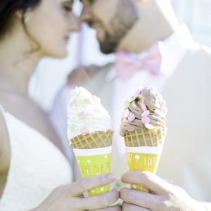 Bride & Groom with Ice Cream
