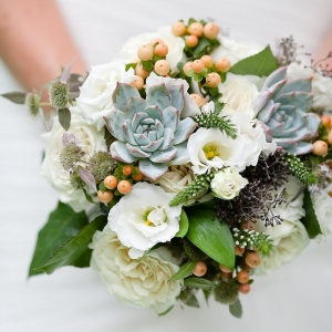 Green and white succulent bouquet