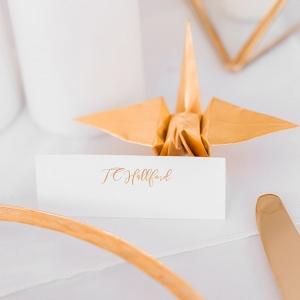 Gold Paper Crane Name Card