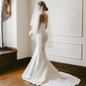 1990s style wedding gown