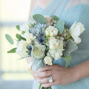 Soft Blue, Green, & White Bridesmaid Bouquet