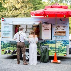 Bride & Groom in Front of Ice Cream Truck
