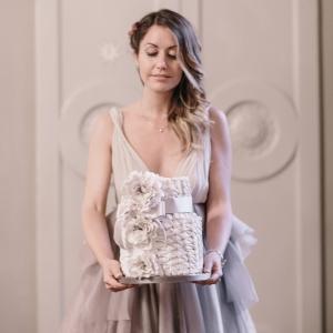 Pearl gray wedding cake
