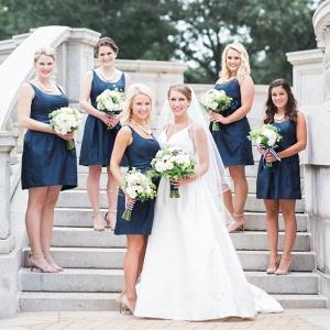 Bride with Bridesmaids in Navy Blue