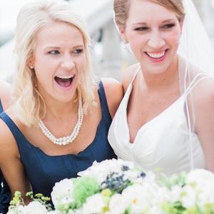 Bride with Bridesmaid in Navy Blue