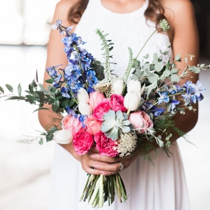 Pretty Pink and Blue Bridal Bouquet