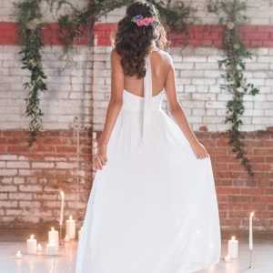Bohemian Style Bride Surrounded by Candles