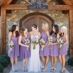 Bride with Bridesmaids in Lavender