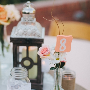 Lantern and simple flower centerpiece
