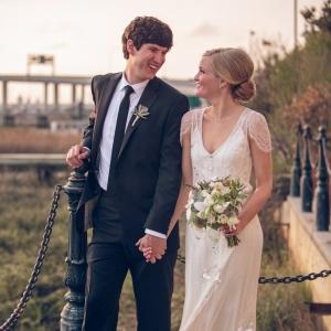 Vintage style bride and groom