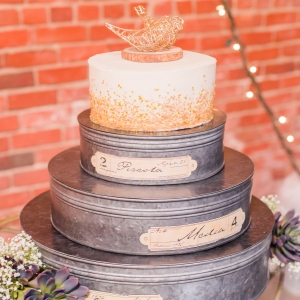 Gold and ivory wedding cake