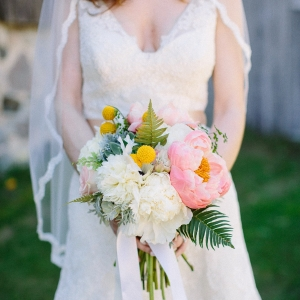 Coral, Pink, And Ivory Bridal Bouquet