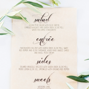 Olive mill wedding dinner menu