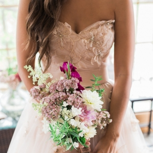 Bride in blush Watters WToo gown