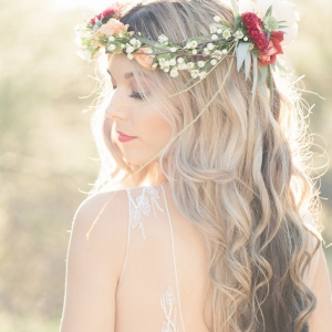 Bohemian with floral crown bride in desert