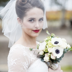 Bride in vintage railway wedding inspiration